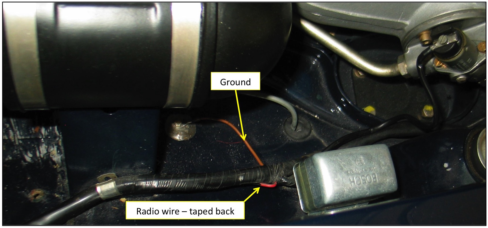 Pagoda Sl Group Technical Manual Electrical Radio Can Am Wiring In Late 230sl And Subsequent Models There Is Already A Factory Installed Red Green Supply Wire Taped Back The Harness